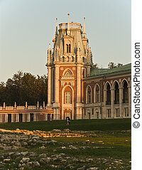 Grand palace in Tsaritsyno at sunset, Moscow, Russia