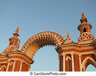 arched gate in Tsaritsyno at sunset, Moscow, Russia