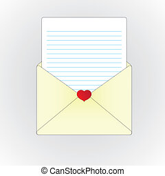 Love letter and paper sheet
