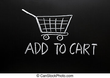 Add to cart concept drawn in chalk on a blackboard