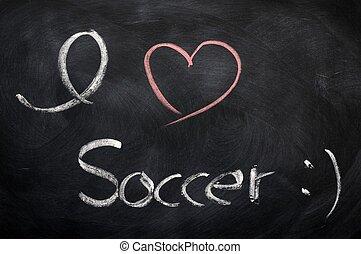 I love soccer - text written on a blackboard