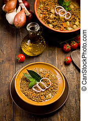 Lentils Soup - fresh homemade lentils soup with onions and...