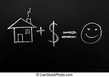 Home plus money means happiness - formula drawn in chalk on...