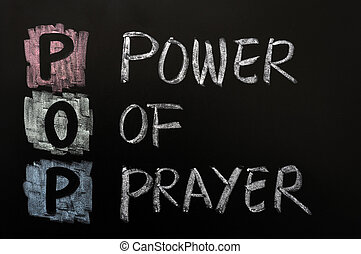 Acronym of POP - Power of prayer written on a blackboard