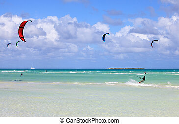 Kitesurfing on the coast of Cuba Cayo Guillermo in Atlantic...
