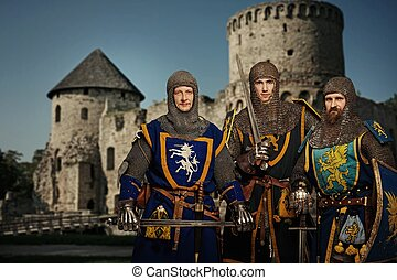 Three knights against medieval castle