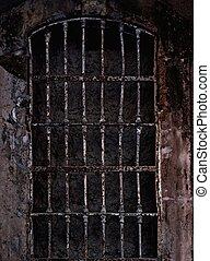 viejo, prisión, célula