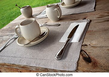 Table setting in cafe