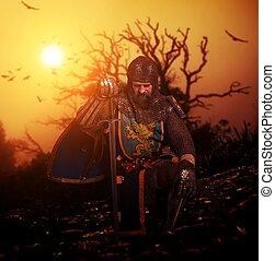 medieval, caballero, el suyo, rodilla