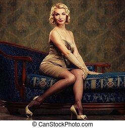 Beautiful woman retro style