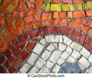 Random mosaic - A part of mosaic - many square and...