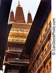 Golden Temple, Wooden Buildings, Roof Top Jing An Tranquility Temple Shanghai China Richest Buddhist temple in Shanghai