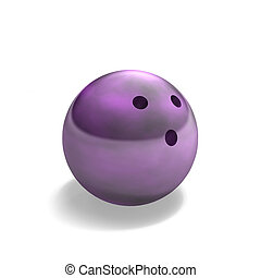 purpl bowling ball on against white - a purple reflective...