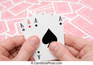 hands with three aces - concept for gamble hands with three...