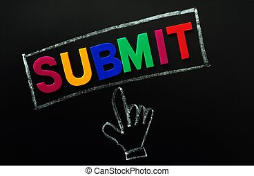 Submit button with a cursor hand