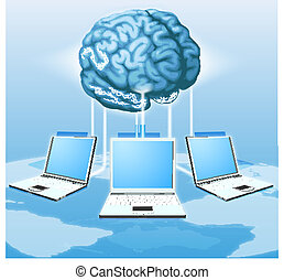 Computer brain computing concept