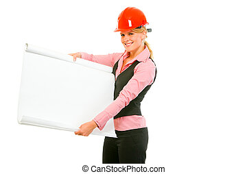 Modern architect woman showing blank flip chart isolated on...