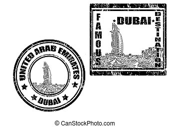 Dubai stamp - Set of grunge rubber stamp,with word...