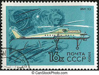 USSR - CIRCA 1969: A stamp printed by USSR shows military transport helicopter MI-10, series, circa 1969