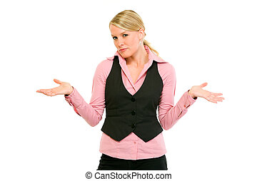 Modern business woman with confused expression on her face...