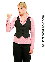 Angry business woman showing get out gesture isolated on...