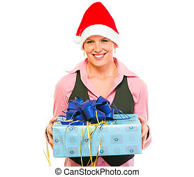 Happy modern business woman in Santa Hat with present box