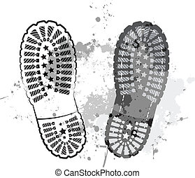 Black trail foot - black vector trail foot on grunge...
