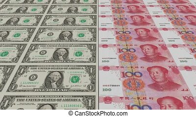 Printing Money Animation,1 dollar and 100 RMB bills