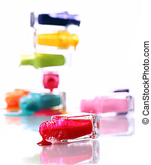 Bottles with spilled nail polish