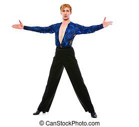 salón de baile, bailarín, Posar, Plano de fondo, blanco,...
