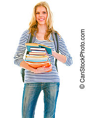 Happy teenager with books and backpack ready to go back to...