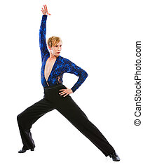 Ballroom male dancer in action isolated on white
