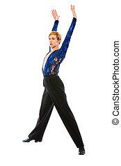 salón de baile, aislado, bailarín, acción, blanco, macho