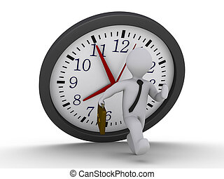 Avoid the falling clock deadline - 3d person is running to...