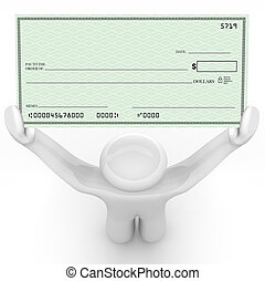 Person Holding Large Blank Check Wealthy Payout - A man...