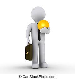 Businessman holding golden soccer ball - 3d businessman...