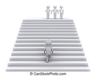 Climb the stairs to join the team - 3d person climbing...