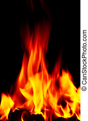 raging open fire flames - bright flames on an open fire that...