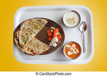 Indian paratha with stuffed aloo vegetables - Indian paratha...