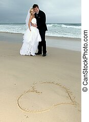 Lovely Wedding Couple at the Sea Side - Pretty blond bride...