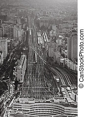 view over urban terminus railways - above view over urban...