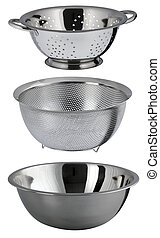 colanders and bowl - two colanders and a bowl for pasta