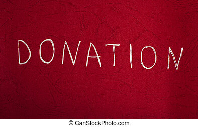 Blood Donation Concept. White text on red background