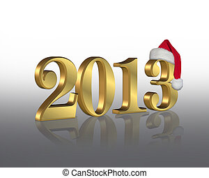 2013 with Santa hat for New Year