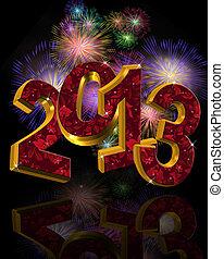 2013, feux artifice, nouveau, année
