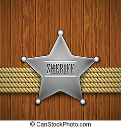 Sheriff's, badge, wooden, background