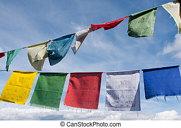 Tibetan buddhist prayer flags - Buddhist tibetan prayer...
