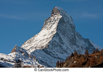 Zermatta Matterhorn Mountain in Switzerland - Zoomed up view...