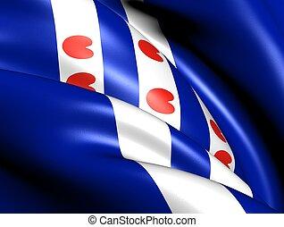 Flag of Friesland, Netherlands. Close up.