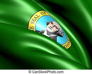 Flag of Washington state. Close up.